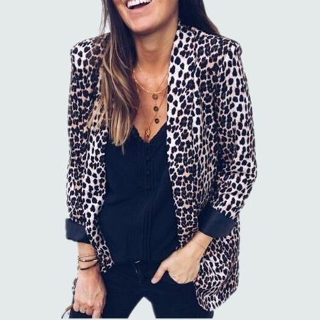 Fashion Women Slim OL Suit Casual Blazer Leopard Jacket  Long Sleeve Coat Outwear