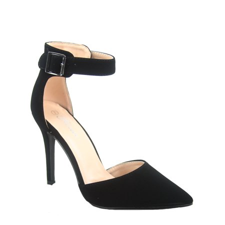 Women's Fashion Ankle Strap Buckle Slip On Pointy Toe Stiletto Pumps