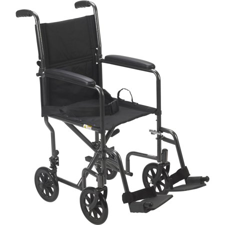 Drive Medical Lightweight Steel Transport Wheelchair  Fixed Full Arms  19  Seat