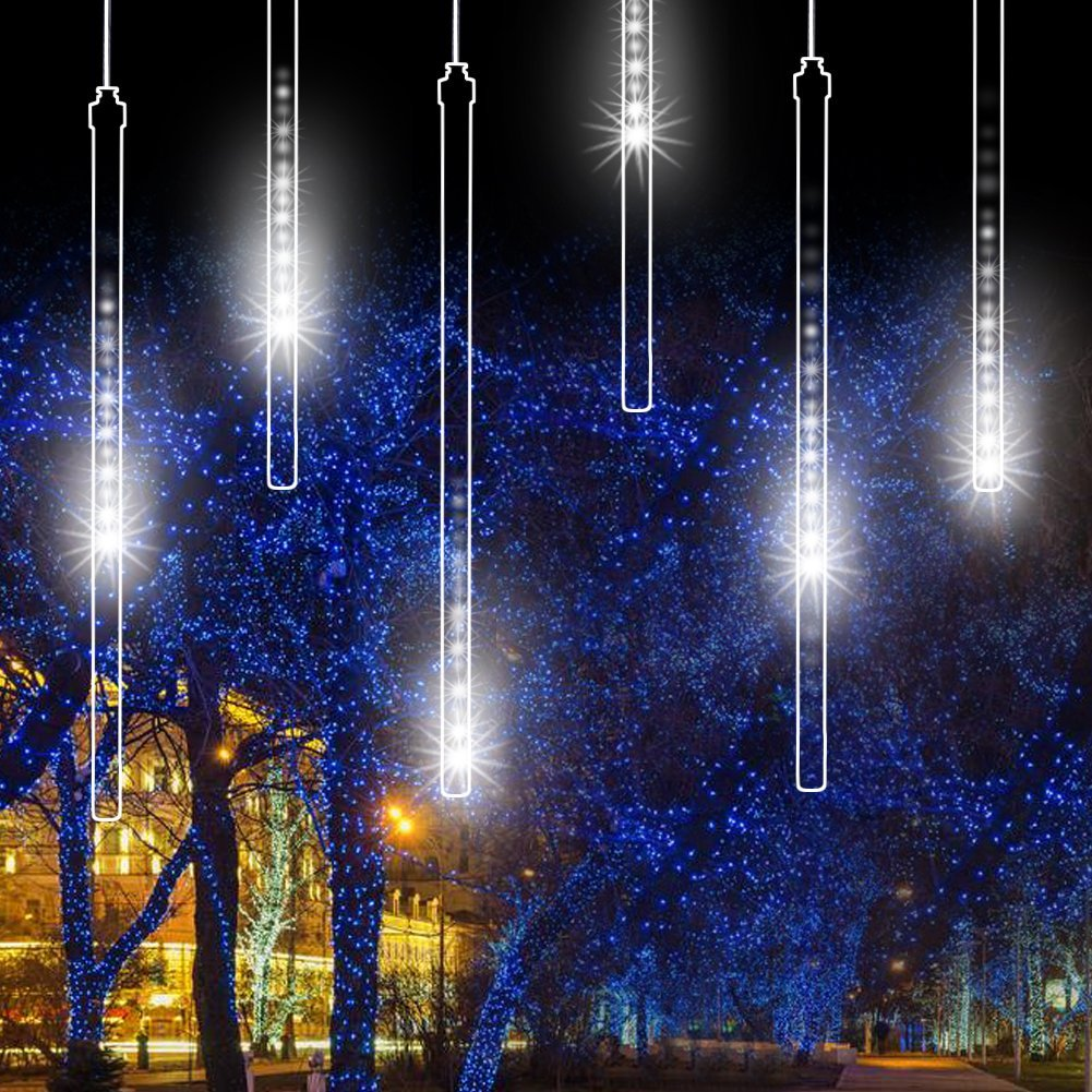 LED Meteor Shower Rain Lights,Drop/Icicle Snow Falling Raindrop String Lights with 11.8in 30cm 8 Tube 144 LEDs Waterproof Cascading Lights for Wedding,Party, Home,Garden (Cool White,US plug)