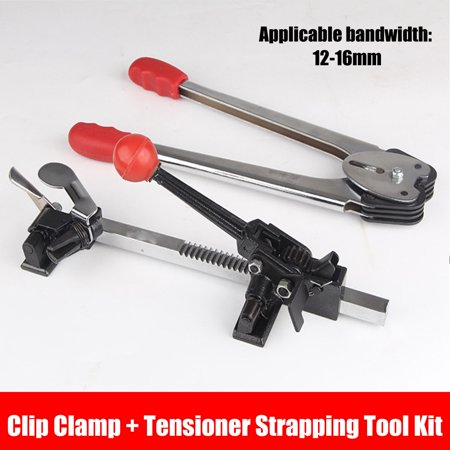 Grtsunsea Paper Plastic Strapping Tool Kit 12-16mm Clip Clamp + Tensioner Advanced Packer