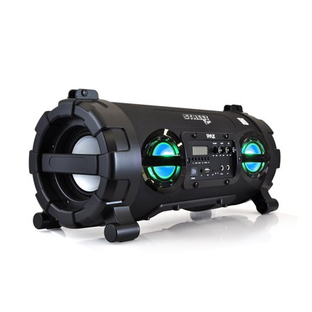 Pyle Wireless Portable Bt Boombox Speaker High Ed Rugged Durable Stereo System Built In Battery Mp3 Usb Sd Fm Radio Dj Party Lights