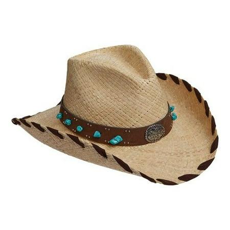 98c3dd20424 Scala - Women s Scala LR661OS Pinch Front Cowboy Hat w  Turquoise Stone -  Walmart.com