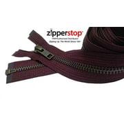 "ZipperStop Wholesale Authorized Distributor YKK® 27"" inch Medium Weight Jacket Zipper YKK #5 Antique Brass ~ Separating ~ Z307 Ruby (1 Zipper/pack) Crafter's Special"