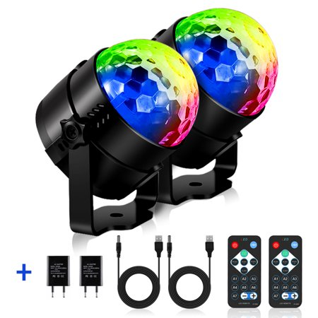 SOLMORE 2-Pack Disco Party Lights LED Strobe Light Disco Lights 7Colors Sound Activated DJ Lights Stage Lights with Remote for Gift Kids Birthday Wedding Home Karaoke Dance](Sound Activated Led Glasses)