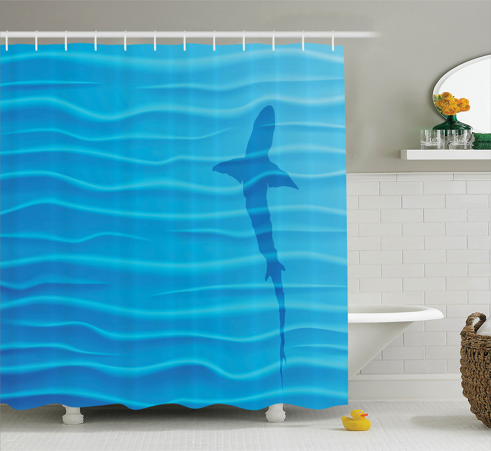 Sea Animals Decor Shower Curtain Set, Shark Silhouette In Water Waves Shadow Danger Summertime Marine, Bathroom Accessories, 69W X 70L Inches, By Ambesonne