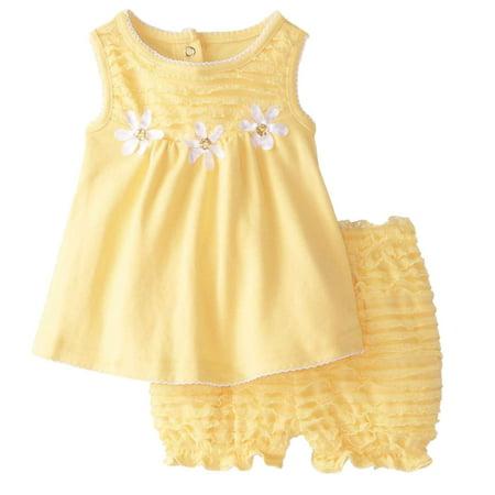 Nannette Infant Girls Yellow Daisy Dress Baby Girl 2 PC Sundress