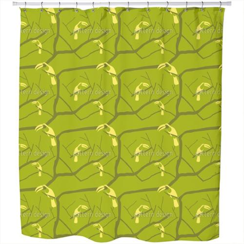 Uneekee Tucan Green Shower Curtain