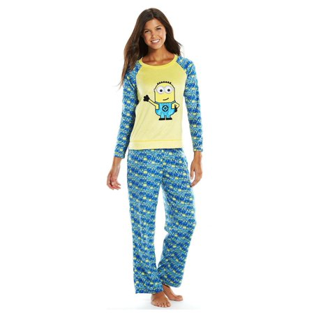 Despicable Me Minions Womens 2 Piece Fleece Pajama Set, Sizes XS-L, Yellow, Size: - Despicable Me Fabric