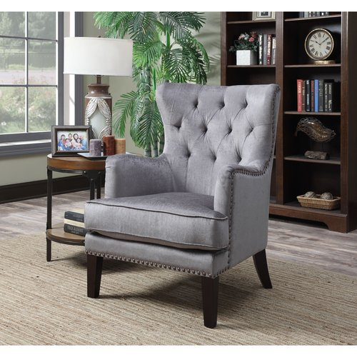 AC Pacific Isabella Grey Fabric Contemporary Tufted Wingback Accent Chair