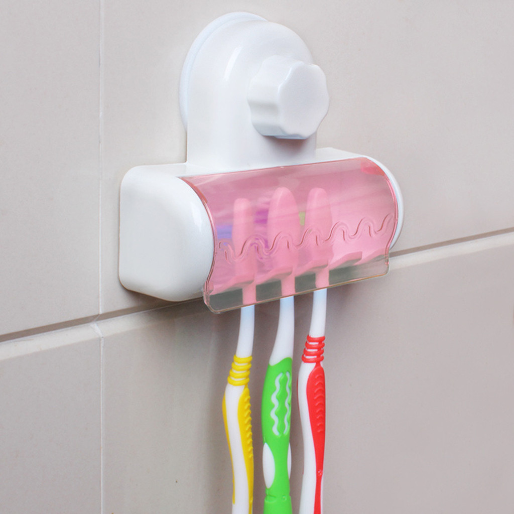 Plastic Set Toothbrush Spinbrush Holder Suction Stand Bathroom Accessory