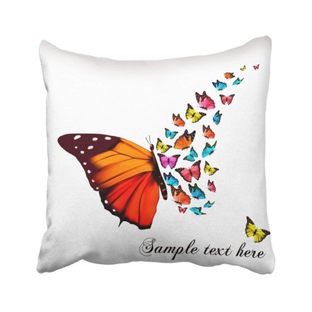 BPBOP Black Wedding Beautiful Butterfly Blue Monarch Fly Wing Artistic Beauty Blank Bright Pillowcase Throw Pillow Cover 18x18 inches](Blue Monarch)