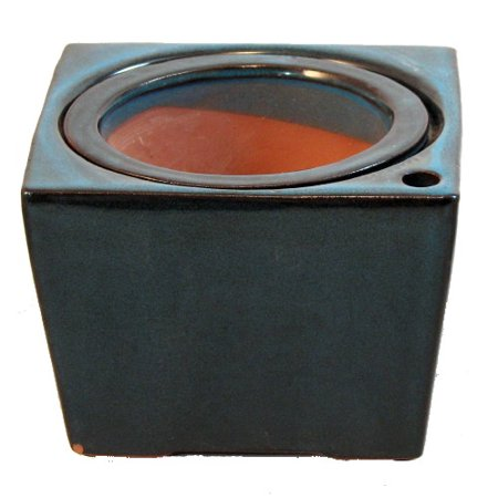 Square Port (Square Self Watering Ceramic Pot with Felt Feet - Tropical Blue - 4 3/8