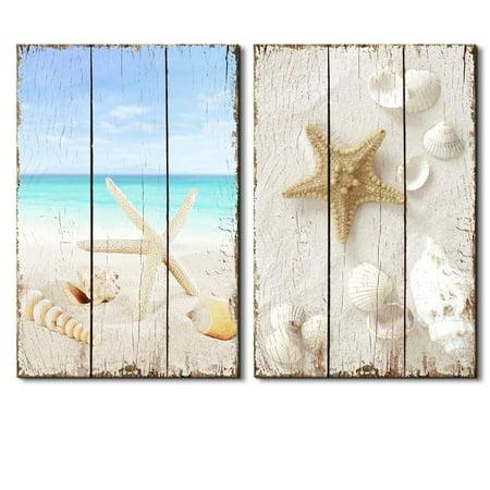 """wall26 -Beach Scene with Sea Life on The Sand - Canvas Art Wall Decor - 16""""x24"""""""