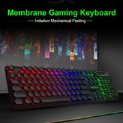 IMICE 104-Key Wired USB LED-Backlit Gaming Keyboard, USB Desktop Punk Mechanical Feeling Levitate Round Keycap  E-sports Gaming Keyboard - Black