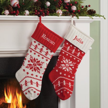 snowflake knit personalized christmas stocking with red or white cuff