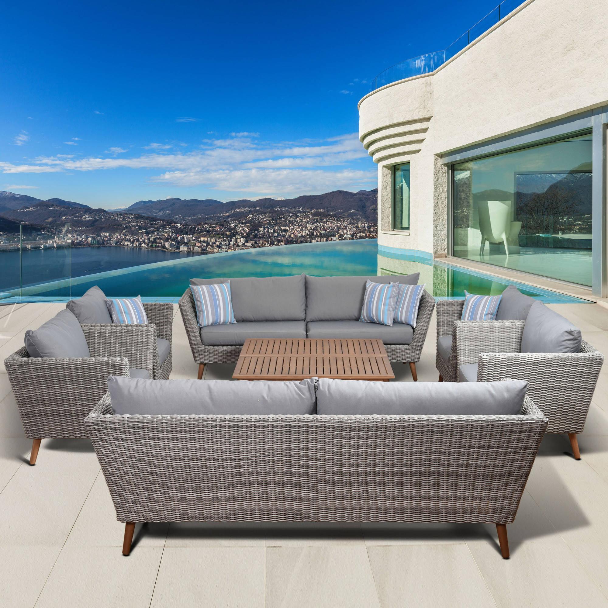 Amazonia Malta 8-Piece Conversation Set with Grey Cushions