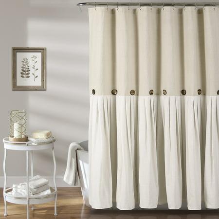 Linen Button Shower Curtain 72X72 (Lush Decor Gigi Shower Curtain)