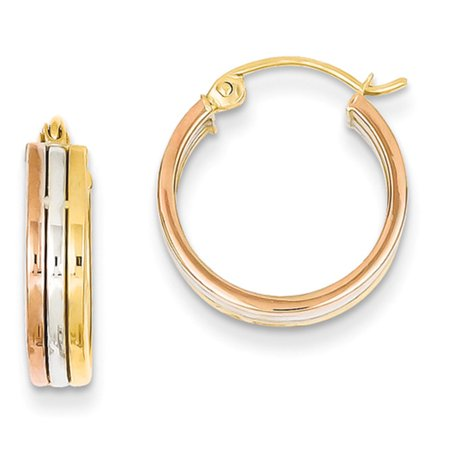 Tri Color Earrings (14k Tri Color Gold Hoop Earrings )