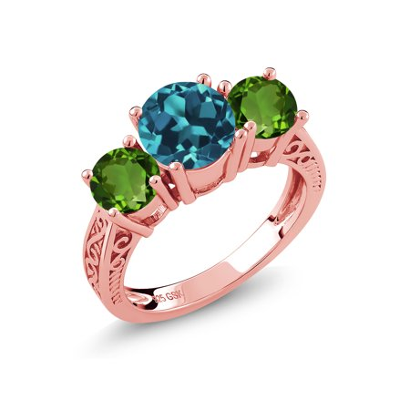 2.70 Ct London Blue Topaz Green Chrome Diopside 18K Rose Gold Plated Silver (18k Diopside Ring)