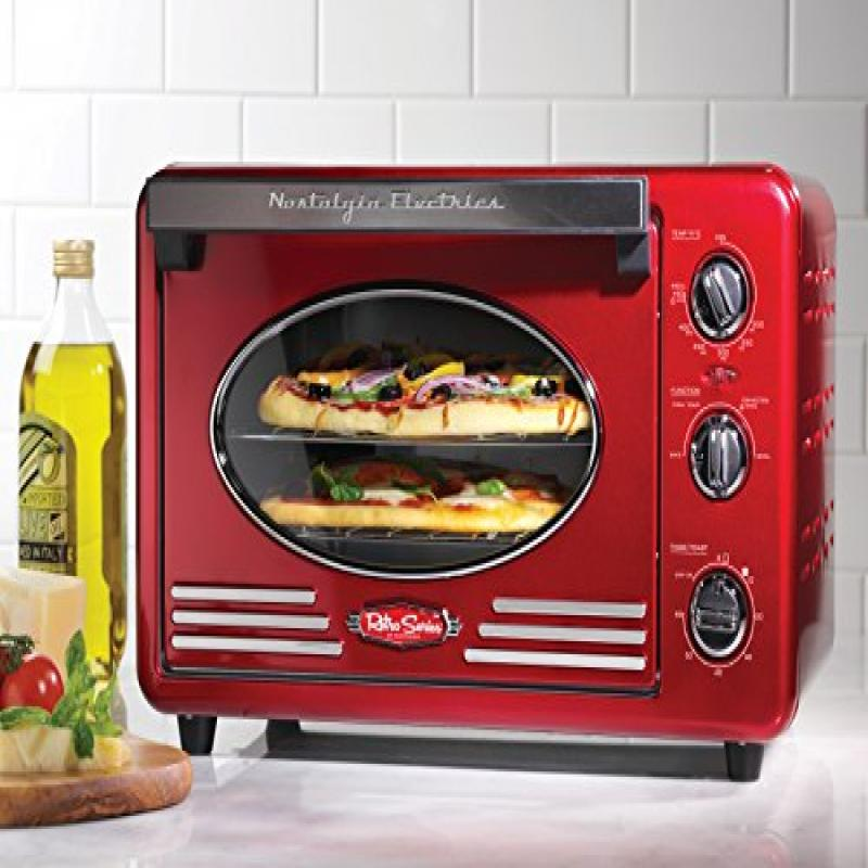 Nostalgia RTOV220RETRORED 12-Slice Double Rack Convection...