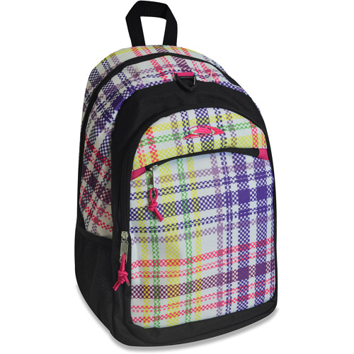 "Pink Plaid 17"" Backpack"