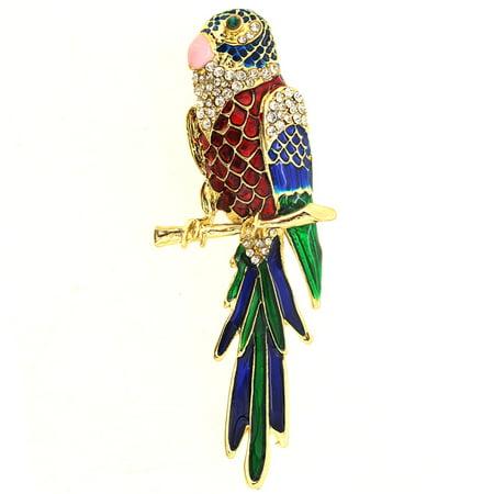 Parrot Pin Brooch - Multicolor Enamel Parrot Pin Brooch