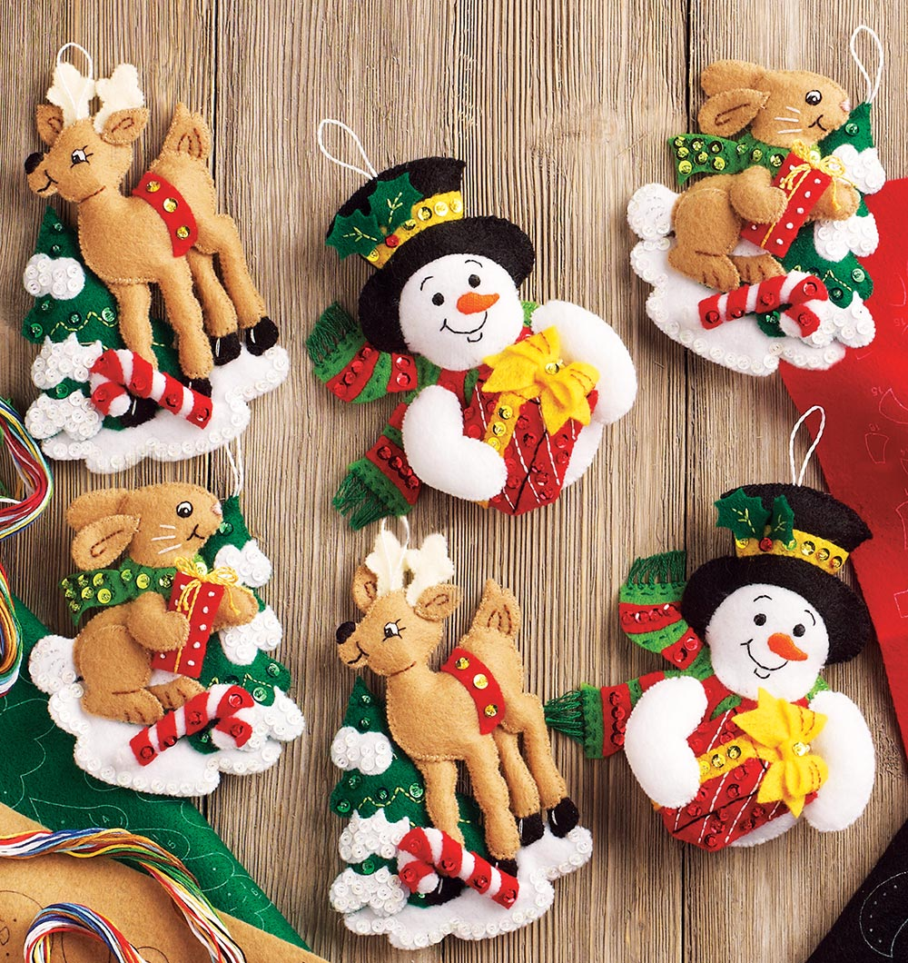 Bucilla Forest Friends Ornaments Felt Kit