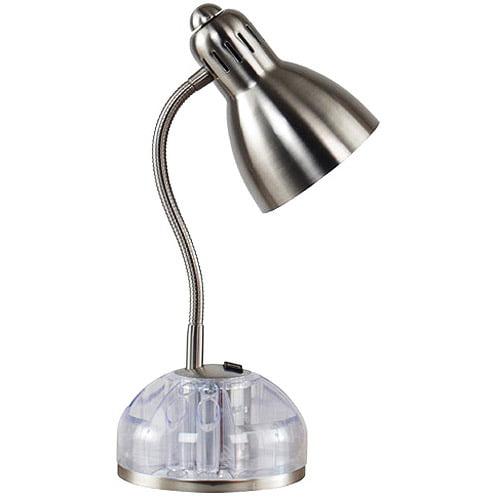 Gooseneck Swivel Organizer Desk Lamp With Outlet Brushed