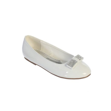 White Leather Rhinestone - Girls White Glitter Rhinestone Bow Accent Patent Leather Flats 5 Kids