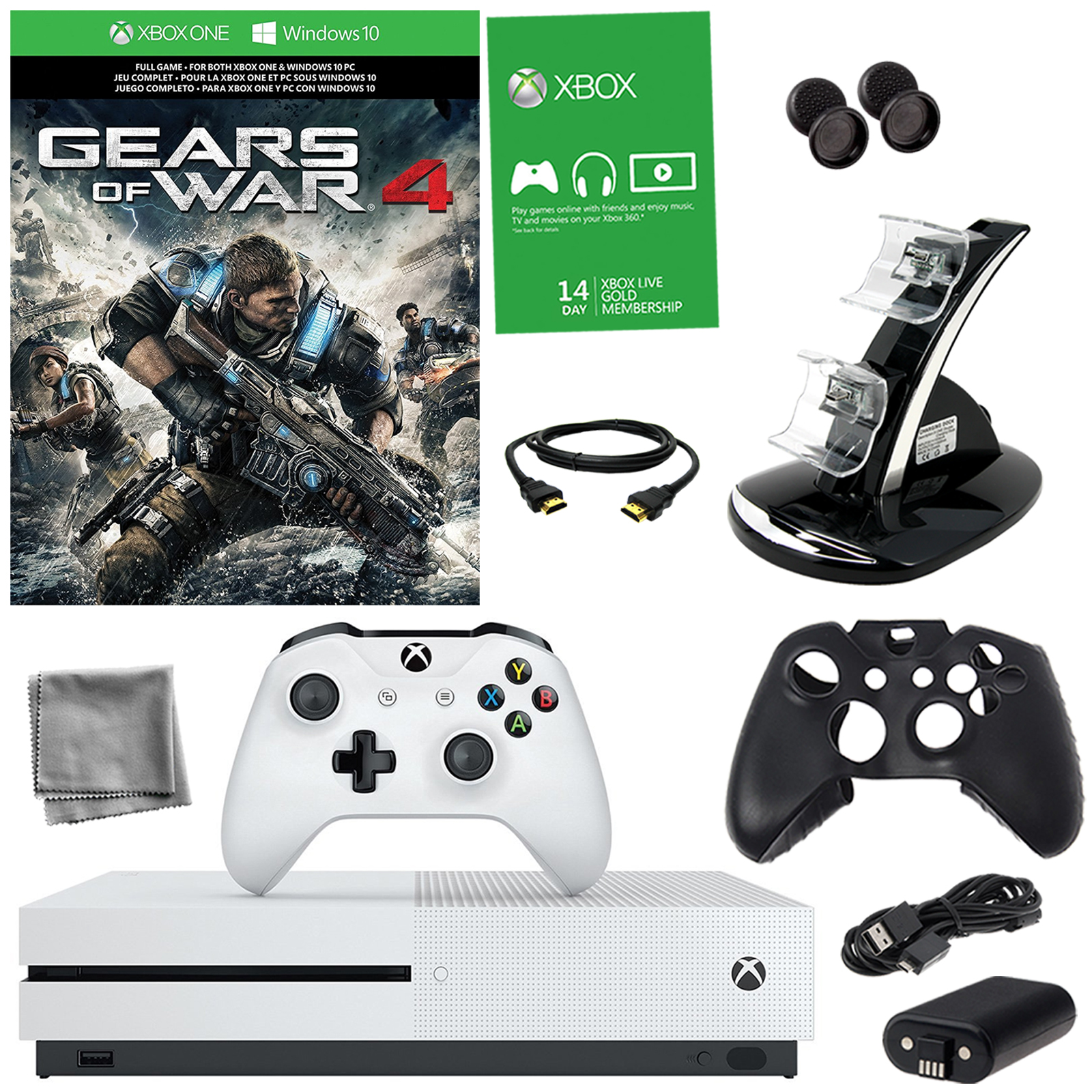 Xbox One S 1TB Gears of War 4 Bundle With 8 in 1 Kit En VeoyCompro
