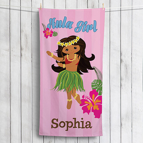 Personalized Hula Girl Beach Towel