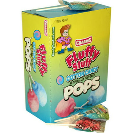 2 Pack - Charms  Fluffy Stuff Cotton Candy Pops 48 ct (Charms Blow Pop)