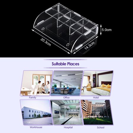 Acrylic Remote Control Storage Box Sundries Holder Wall Mounted Bin Storage Rack Container w/3 Lattices for Home Office - image 4 de 6