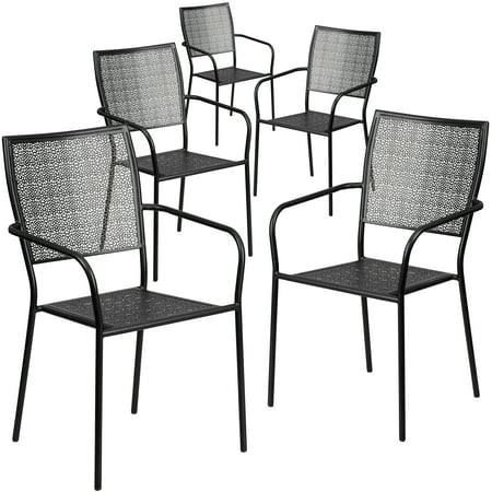 Flash Furniture 5 Pk. Black Indoor-Outdoor Steel Patio Arm Chair with Square Back ()