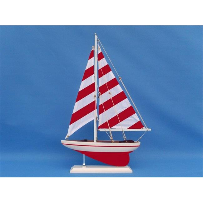 Handcrafted Decor ps-red stripe-17 Wooden Red Striped Pacific Sailer Model Sailboat Decoration, 17 in. by Handcrafted Decor