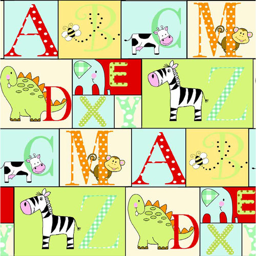 Alphabet Patch Fabric