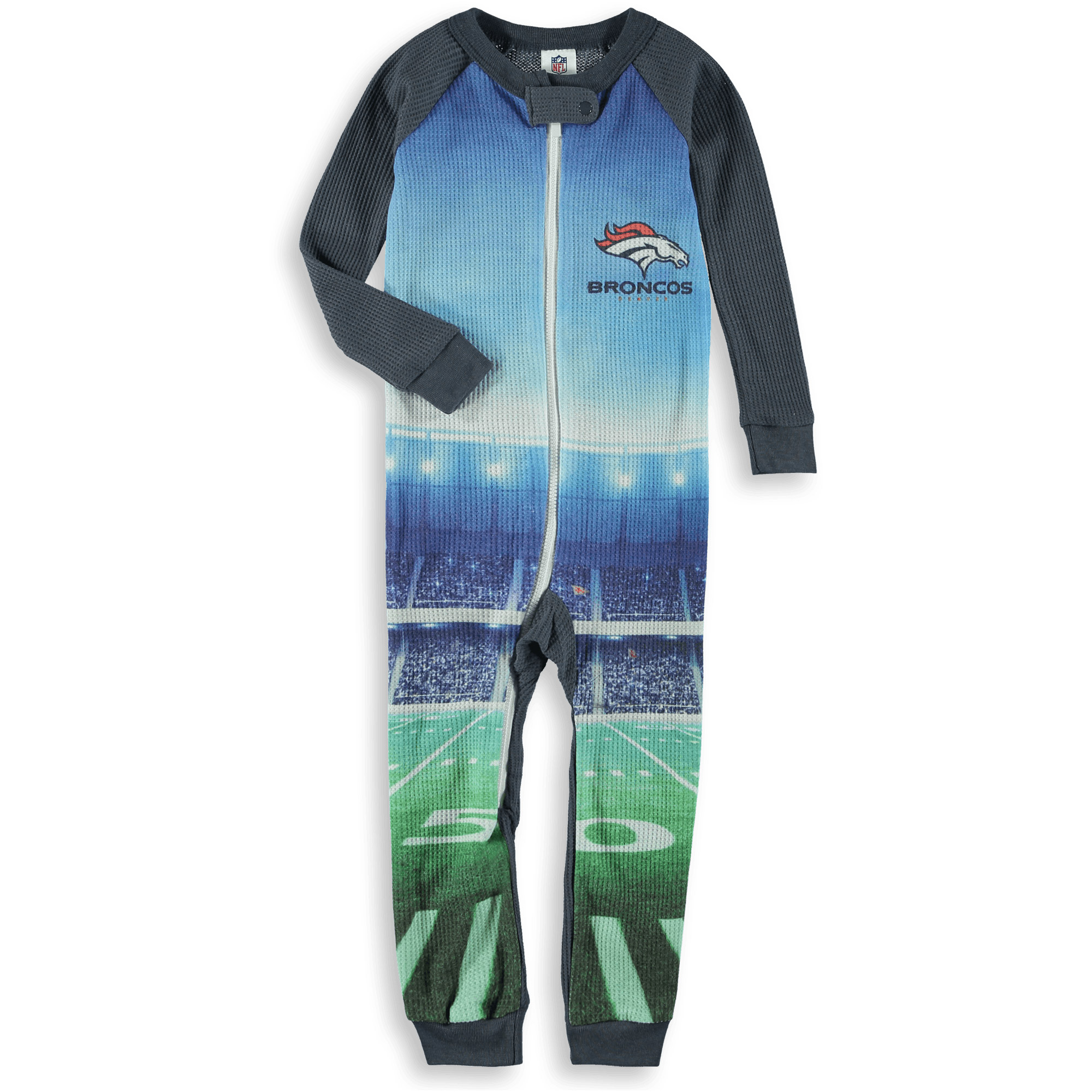 Denver Broncos Toddler Union Suit Jumper - Gray - 2T