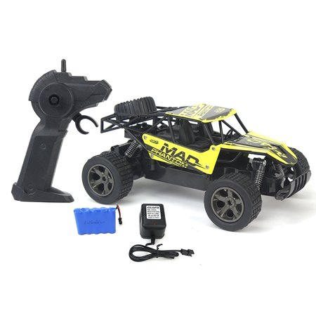 The King Cheetah Turbo Remote Control Toy Yellow Rally Buggy RC Car 2.4 GHz 1:18 Scale Size w/ Working Suspension, Spring Shock Absorbers