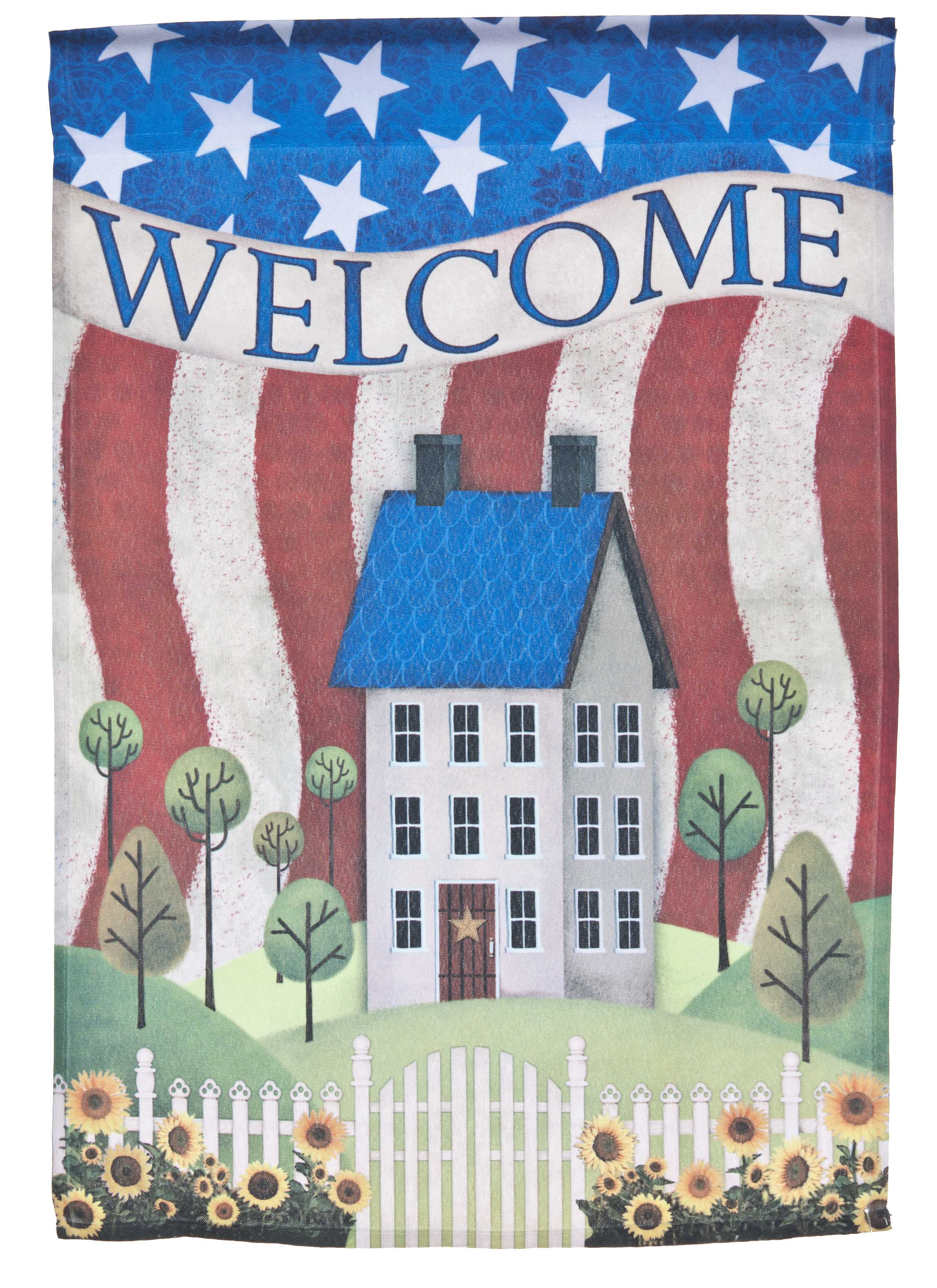 Welcome Lawn Flag w  American Cottage by Garden Accents (12 x 18 Inch) by