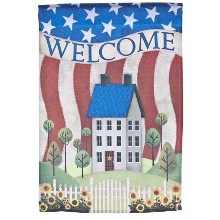 Welcome Lawn Flag w/ American Cottage by Garden Accents (12 x 18 Inch) ()