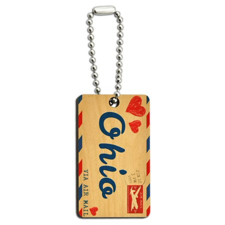 Air Mail Postcard Love for Ohio Wood Rectangle Key