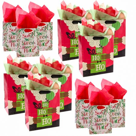 Hallmark (12 Pack) Christmas Gift Bags Assorted Sizes Tags Tissue For Gifts Large Small Black Santa for $<!---->