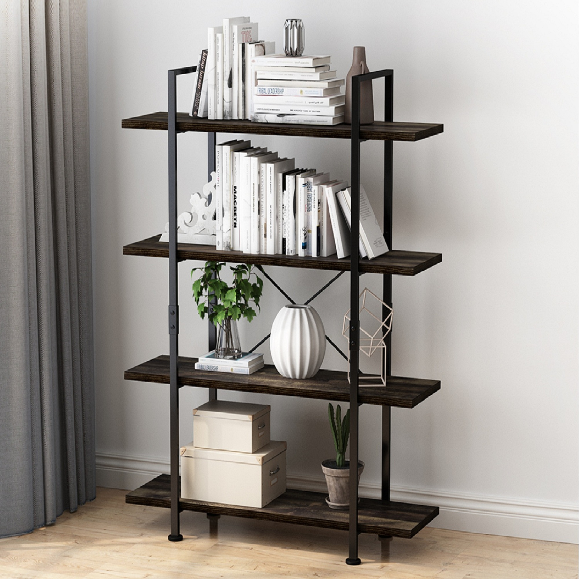 4 Tier Open Back Storage Bookshelf Industrial 54 3 Inches H Bookcase Decor Display Shelf Living Room Home Office Natural Solid Reclaimed Wood