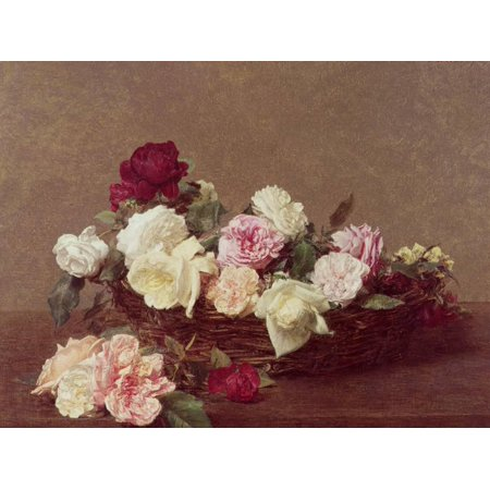 A Basket of Roses, 1890 Traditional Floral Still Life Art Print Wall Art By Henri Fantin-Latour
