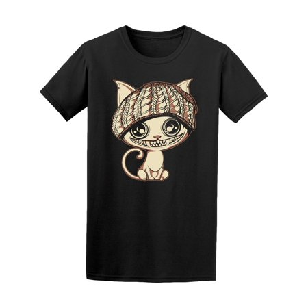 Crazy Scary Cat In Hat Tee Men's -Image by Shutterstock (Crazy Hats For Sale)