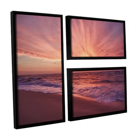 Artwall Outer Banks Sunset Iii By Dan Wilson 3 Piece Framed Photographic Print On Canvas Set