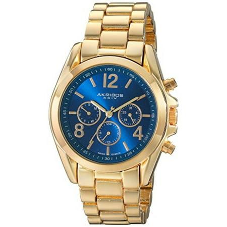 Women's AK760YGBU Multifunction Swiss Quartz Movement Watch with Blue Sunburst Effect Dial and Yellow Gold Bracelet