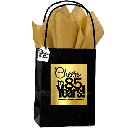 Black And Gold Party Theme (Black & Gold 85th Birthday / Anniversary Cheers Themed Small Party Favor Gift Bags with Tags -12pack)