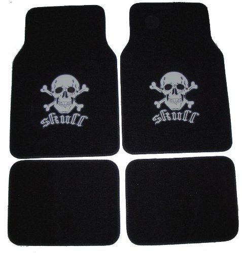 A set of 4 universal fit plush carpet floor mats for cars / truck - Skull and Cross Bone Silver, Embossed Skull and Cross design By BDK